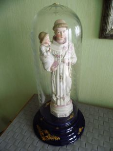 Holy bisque statue under bell jar, St. Anthony of  Padua - 20th century