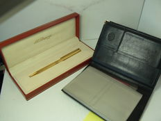 Gold Plated Pen and Leather Dupont Wallet