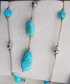 18 kt white gold necklace with turquoise gemstones