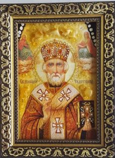 St.Nicholas Icon with Natural amber Stones, No reserve