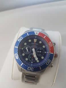 Seiko solar air divers 200 chronograph Pepsi Bezel V175 - 0AD0 Near New condition, box