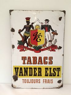 Enamel advertising sign - Vander Elst Tabacs - 1951