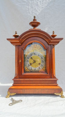 Large walnut Junhans table clock - around 1900