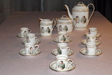 Old coffee set consisting of 21 pieces - Napoleon and Josephine - luxury fine porcelaine from Ajaccio (France)