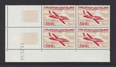 France 1954 - Aeroplane 500 Fr in block of 4 with Coindate - Yvert PA32