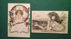 Fantasy cards.  29 pieces jugendstyle. And children's cards. 24 cards sent 1900 ... 1910, 5 not sent.  Fine condition.