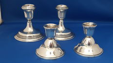 2 Sets Dutch silver candlesticks, 20th century