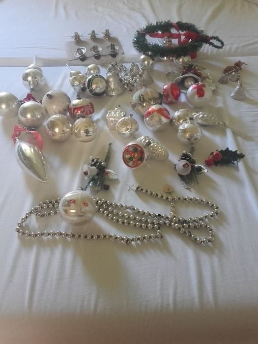 large lot of old andor antique christmas decorations