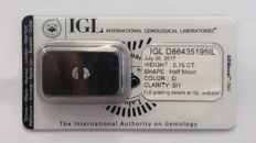 0.15ct 2 Diamonds Half Moon Cut  D SI1   IGL Lab report -NO RESERVE