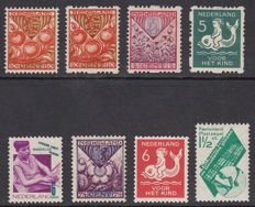 The Netherlands 1925/1931 - selection of 8 plate flaws