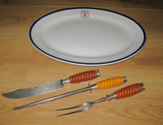 WW2 , German 3-piece cutlery for meat by Eickhorn with meat platter