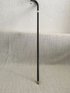 Vintage cane / walking stick dark wood with silver collar and tip . LONDON 1908 . H. PIDDUCK & SONS