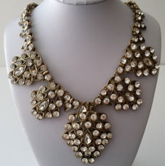 Oscar de la Renta Clear Swarovski Crystal Bib Necklace