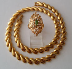 NAPIER Gold Plated Necklace and Jade Ring