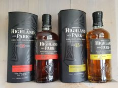 2 bottles - Highland Park 15 and 18 with special glasses