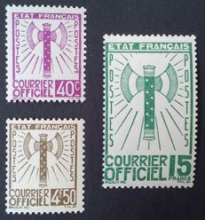 France 1943 – Service, 3 stamps of the Francisque set, signed Calves – Yvert no. 3, 11 and 14.