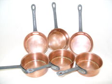 Set of 6 solid brass gourmet pans by the brand SEP