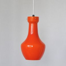 Designer and producer unknown - Orange Scandinavian überfang / opaline glass pendant light