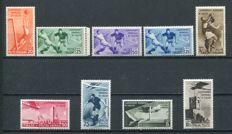 Kingdom, 1934 - Football World Cup series, 9 values, Sass. No. 357/361 and P.A.69/72