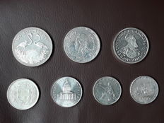World - Ecu, liras, dollar and francs 1961-1987 (7 coins)