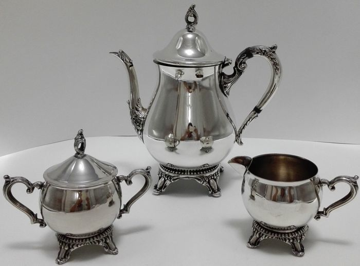 Three piece Silver plated tea- and coffee set, Raimond Silver Plated, 1st half of the 20th century