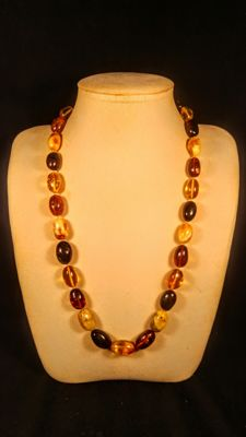 Vintage  100% natural olive shape Baltic Amber necklace, length 62 cm, 47 grams