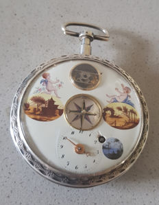 27. Silver verge watch - magnificent dial - front balance wheel - compass - painting - Switzerland 1790