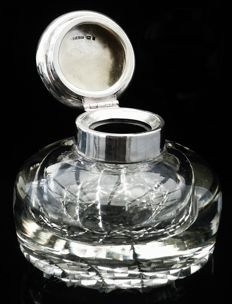 Silver & Cut Glass Inkwell, London 1920, Stuart Clifford & Co