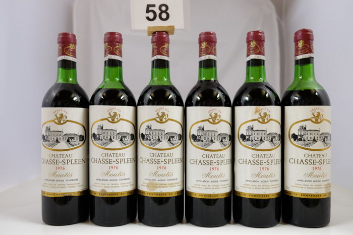 1976 Chateau Chasse-Spleen, Cru Bourgeois Exceptionnel, Moulis-en-Medoc, France - 6 Bottles.