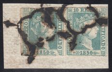 Spain 1850 - Isabel II. Pair on fragment. CEM certificate - Edifil 5