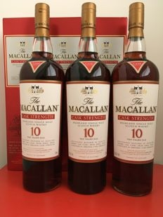 3 bottles - Macallan Cask Strength 10 years old - Sherry wood
