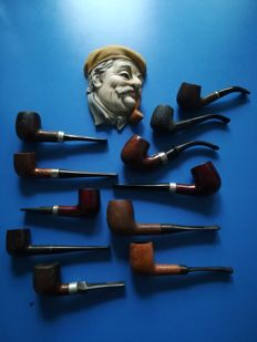 Batch of very old pipes, with a ceramic decorative element - total 12x items