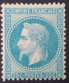 France 1868 - Napoleon III with laurels, 20 c. blue - Yvert 29B.