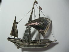 Miniature sailing ship in silver 925, Italy