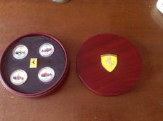 Lot of 4 Ferrari Formula1 F1 coins with wooden box