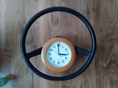 FIAT Bambino 126p. Vintage Wheel - clock. Manually assembled. FIAT advertising. Orginal Fiat 126p 1973y.