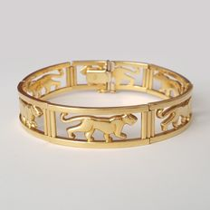 Flexible 18 kt gold bracelet with panthers – Length: 19.5 cm – Weight: 30.5 g