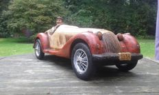 Morgan sports car type wooden sculpture - scale approx. 1:6 - about 75 cm