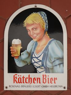 Enamel Sign KÄTCHEN BIER HEILBRONN - Germany - 1950ies / 1960ies