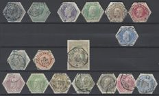 Belgium - selection of Telegraph stamps - Leopold I, Leopold II and number on lined background - OBP TG1/TG17