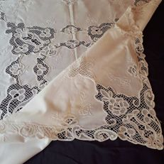 Fine hand embroidered tablecloth