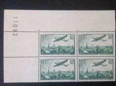 France 1934 - Air post 50 f. dark green, in block of 4, corner of the sheet Variety 0 hollowed with Scheller certificate - Yvert no. 14b