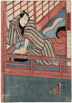 Utagawa Kunisada, ( 1786 - 1865 ) - A Man in his sleeping corners  - Ca. 1840