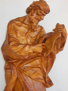 Antique and large-sized sculpture in beech wood depicting Moses with the tablets of the ten commandments - Italy, late 19th century