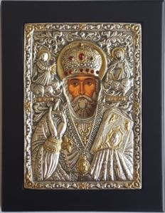 925 silver Icon of St. Nicholas, ***No Reserve***