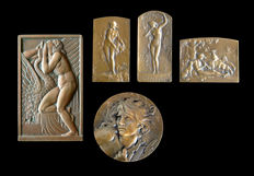 "5 Art Deco and Art Nouveau medals in bronze signed Lavrillier ""Leda et le cygne"", Coudray ""Orhpée endort Cerbère"" and Lenoir ""Bucolique"""