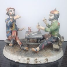 Capodimonte sculpture - 2 Card players - Italy