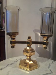 Smoked glass and brass candlestick, unknown model