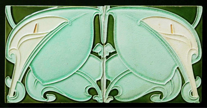 Alfred Meakin - Two Art Nouveau Tiles with continious patern