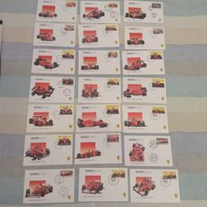 Lot of 22 envelopes with commemorative stamps Formula 1 + F2004 coin